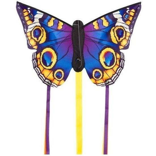 Vlinder vlieger blauw met staarten 52 x 34 cm