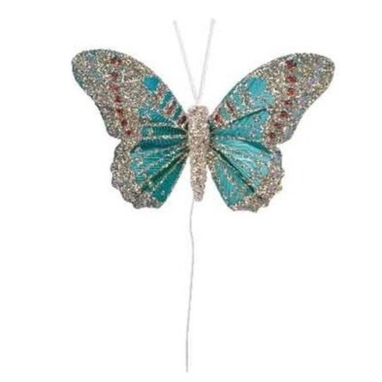 Vlinders op steker groen 8 cm met glitters decoratie materiaal
