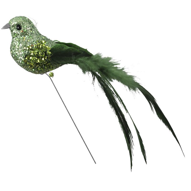Vogels op steker groen 15 cm met glitters decoratie materiaal