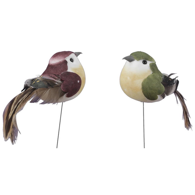 Vogels op steker groen/bordeaux 9,5 cm decoratie materiaal