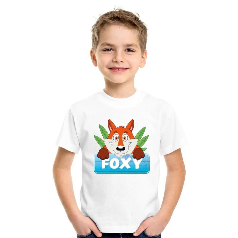 Vossen dieren t-shirt wit voor kinderen