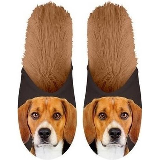 Warme dieren slofjes/pantoffeltjes Beagles honden voor dames/heren/volwassenen