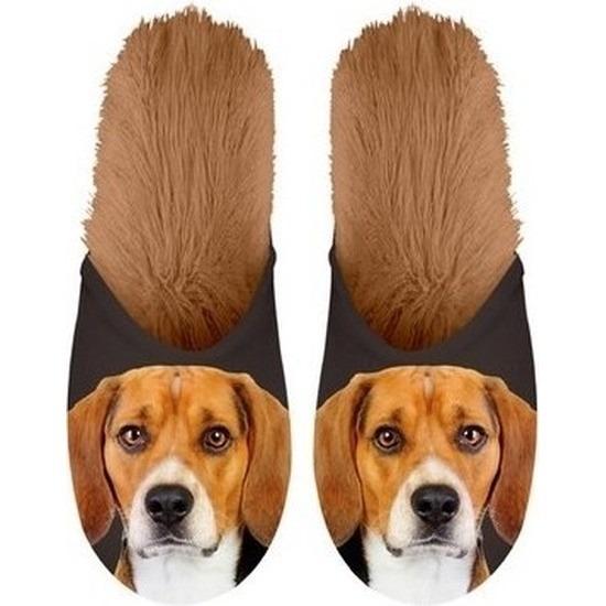 Warme dieren slofjes/pantoffeltjes Beagles honden voor meisjes/jongens/kinderen