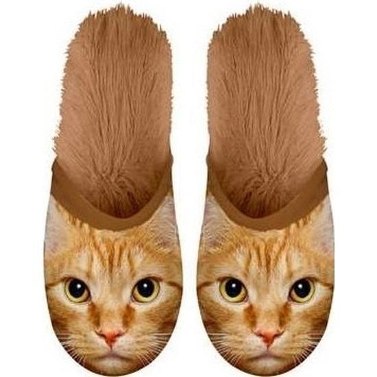 Warme dieren slofjes/pantoffeltjes rodes katten voor jongens/meisjes/kinderen