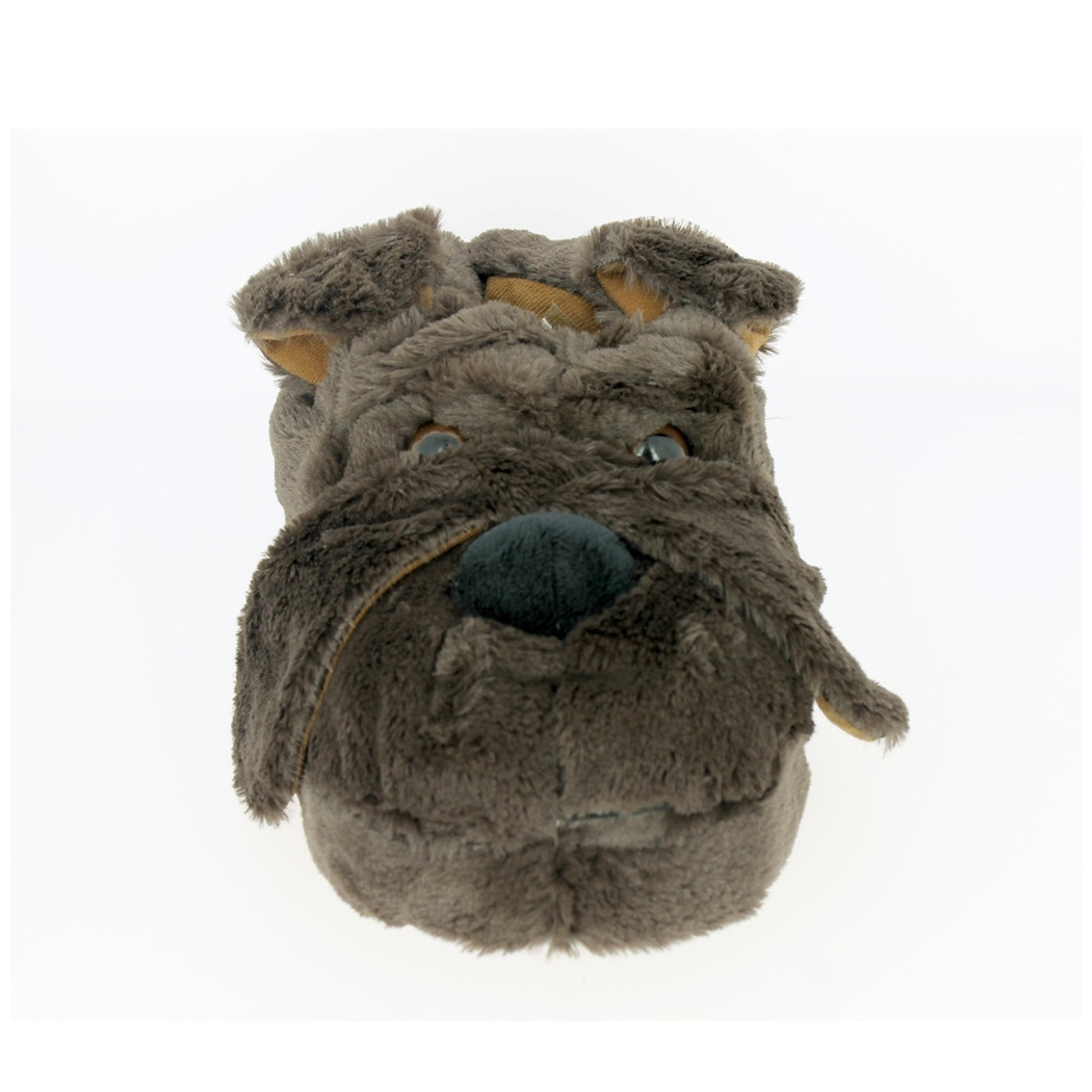 Afbeelding Warme pluche Bull dog honden dieren sloffen/pantoffels voor heren bruin door Animals Giftshop