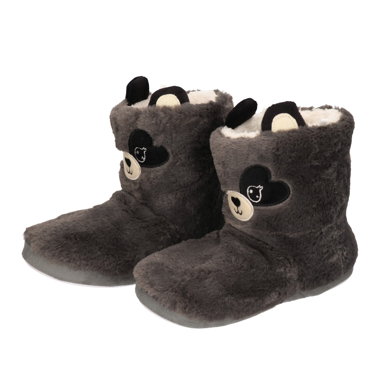 Warme pluche muis/muizen dieren sloffen/pantoffels voor dames grijs