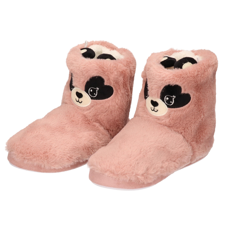 Warme pluche muis/muizen dieren sloffen/pantoffels voor dames roze