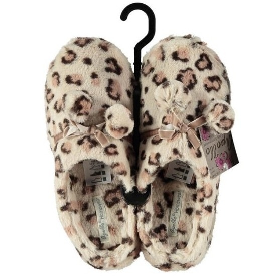 Warme sloffen/pantoffels luipaard print voor dames