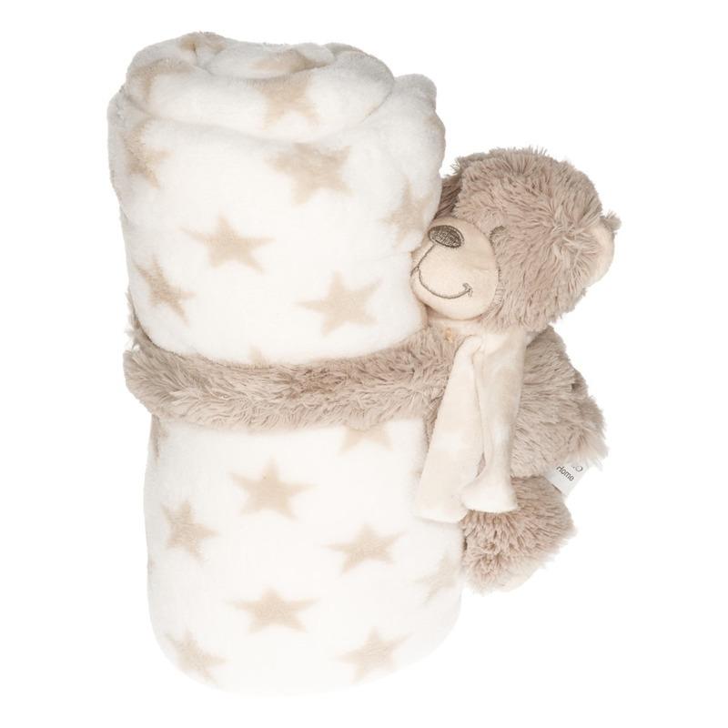 Wit/beige sterrenprint deken 100 x 75 cm met klittenband beren knuffel
