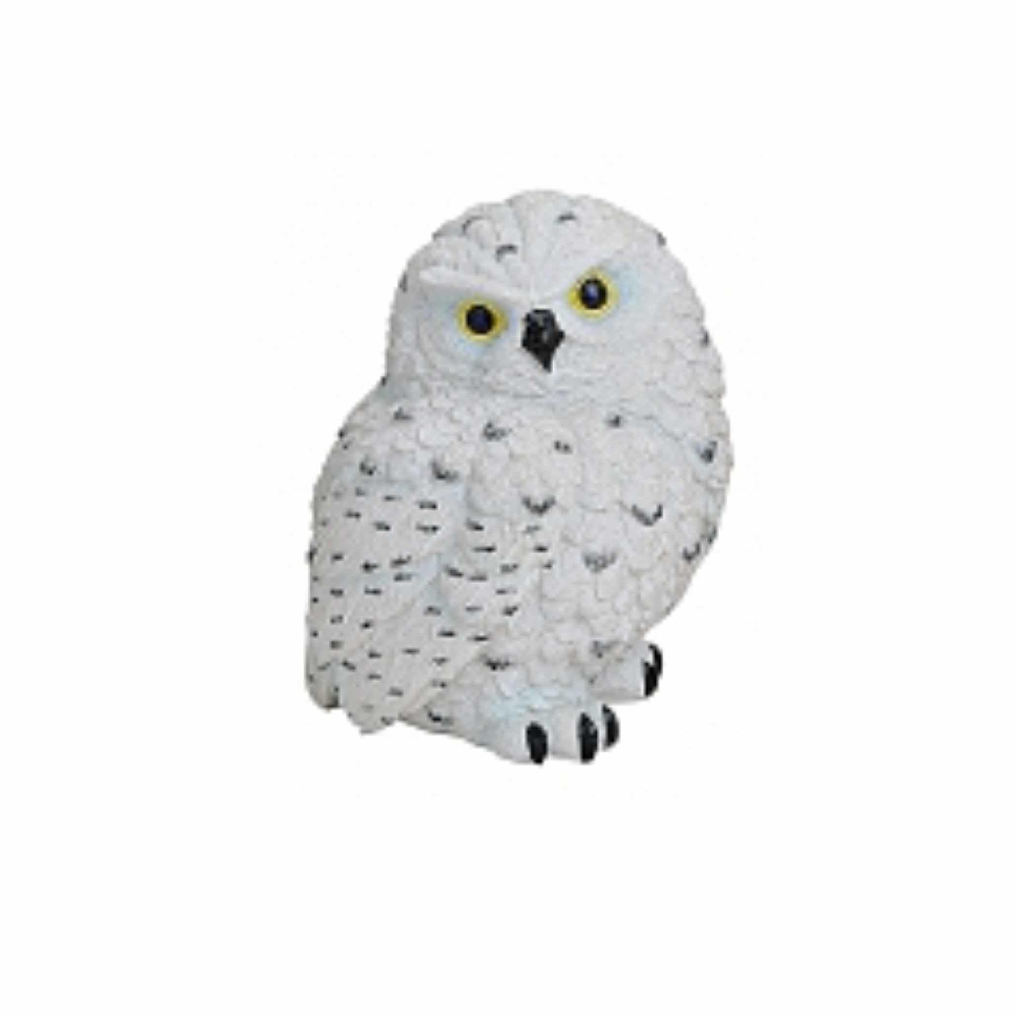 Witte decoratie beeldje sneeuwuil 11 cm