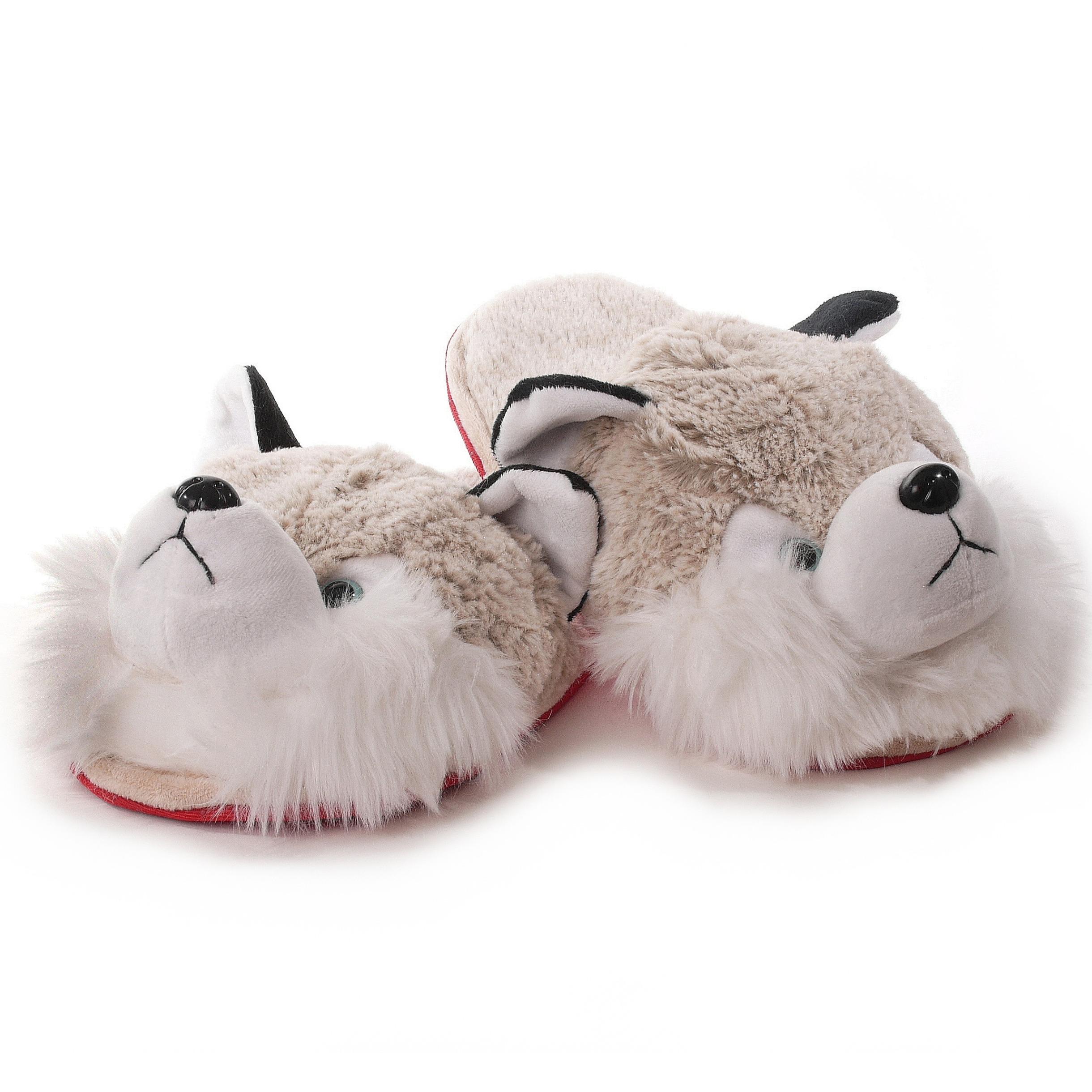 Witte/grijze wolven instappers pantoffels/sloffen voor dames/vrouwen