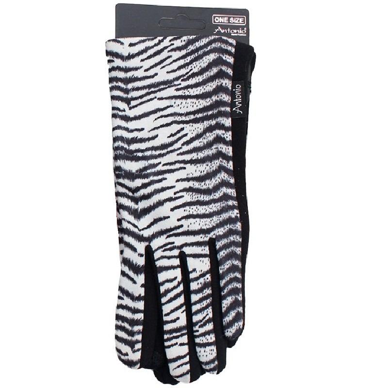 Witte tijgerprint smartphone touchscreen handschoentjes voor dames