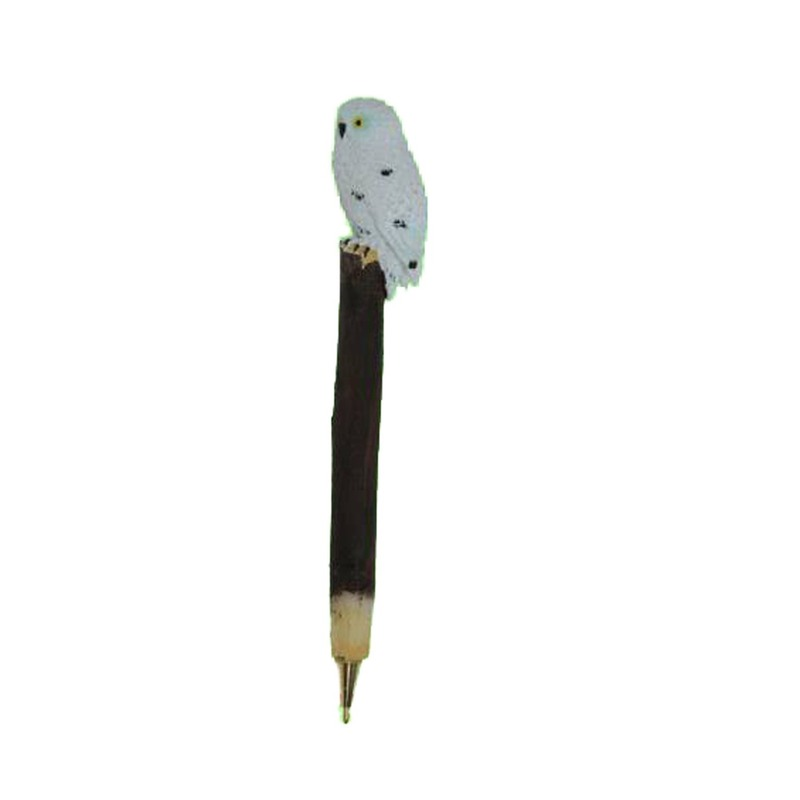Witte uil op pen 18 cm