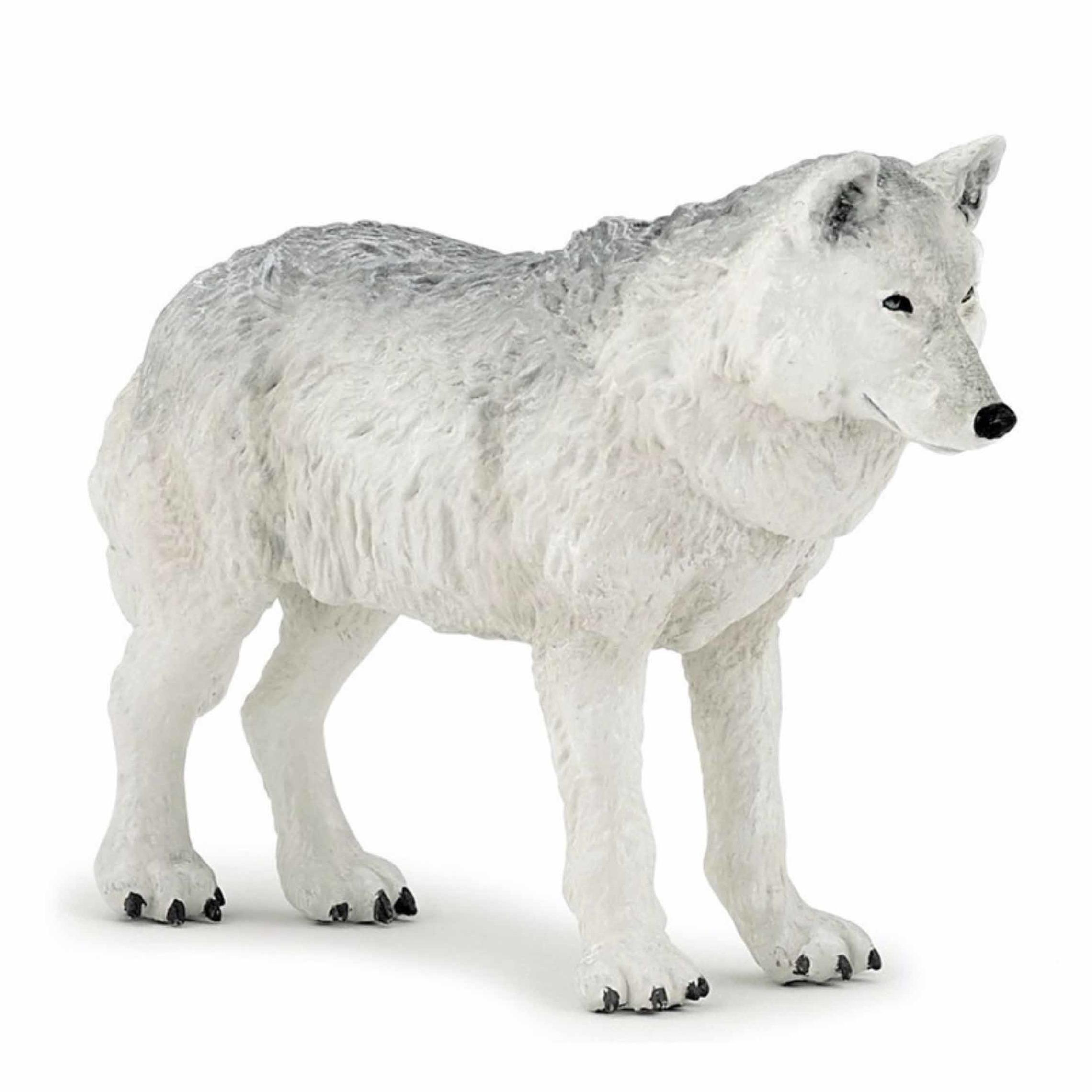 Witte wolf speeldiertje 9,5 cm
