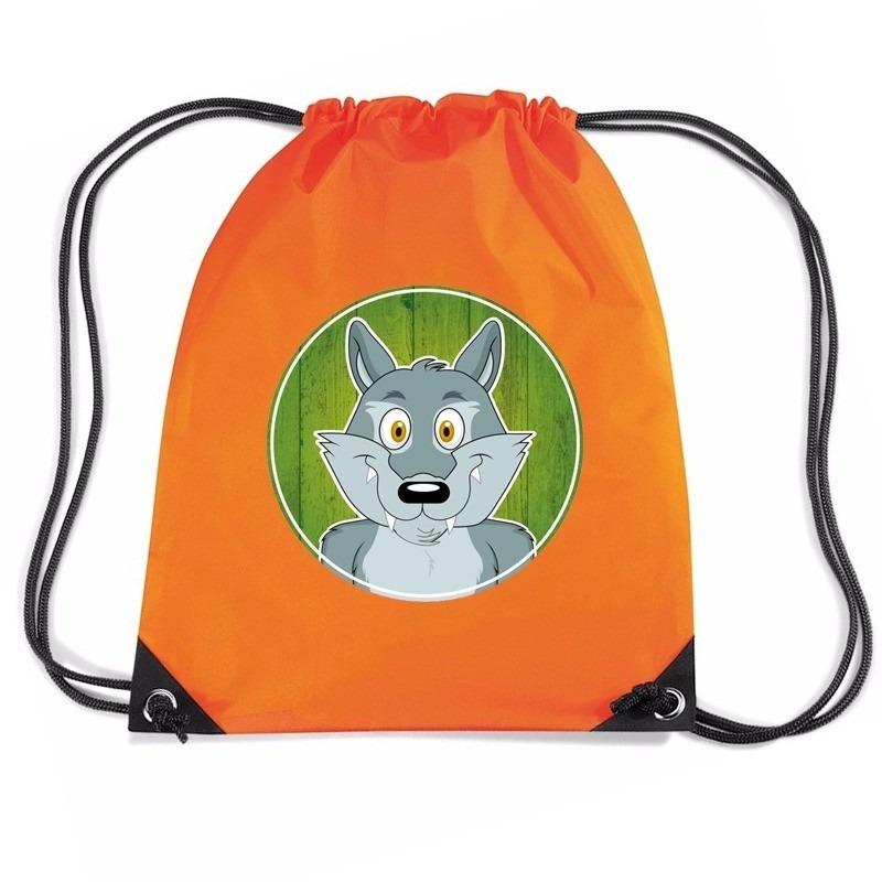 Wolf dieren trekkoord rugzak - gymtas oranje voor kinderen