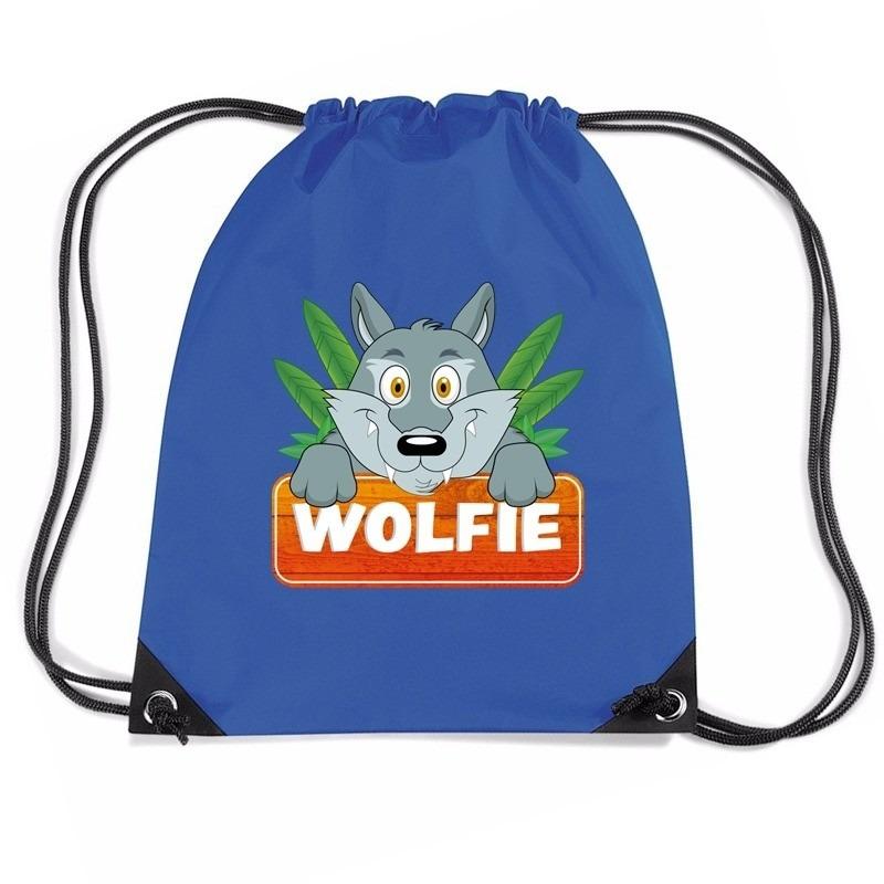 Wolfie de Wolf trekkoord rugzak - gymtas blauw voor kinderen