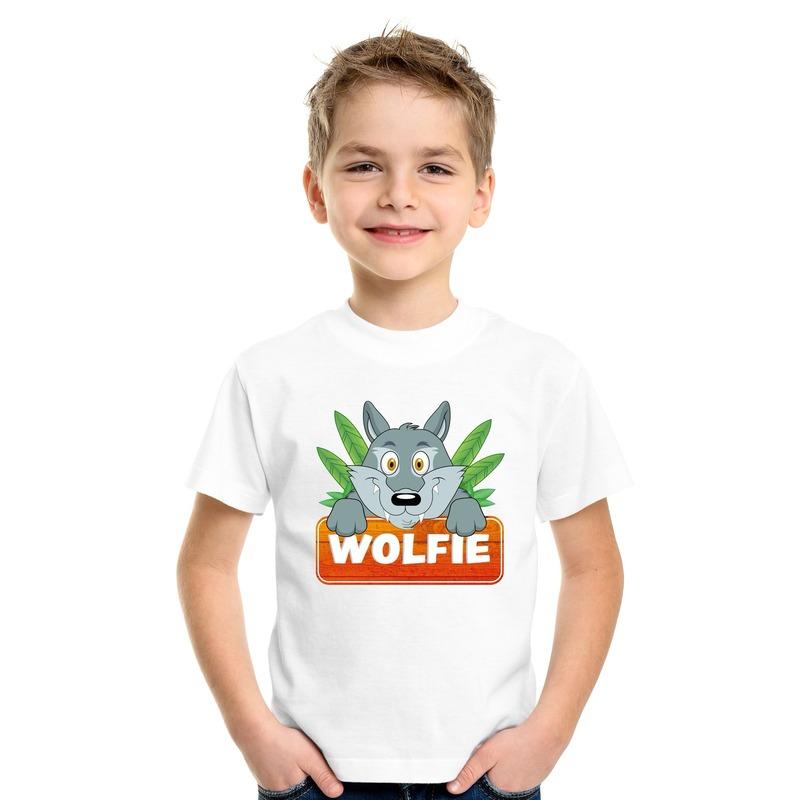Wolven dieren t-shirt wit voor kinderen