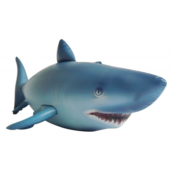 XXL opblaas haai blauw 213 cm