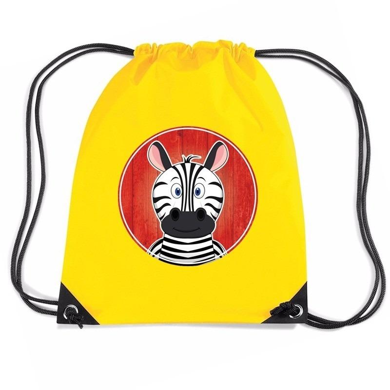 Zebra dieren trekkoord rugzak - gymtas geel voor kinderen