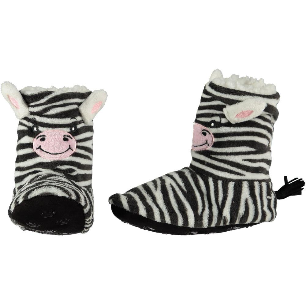 Zebra laars pantoffels/sloffen zwart/wit voor dames/vrouwen