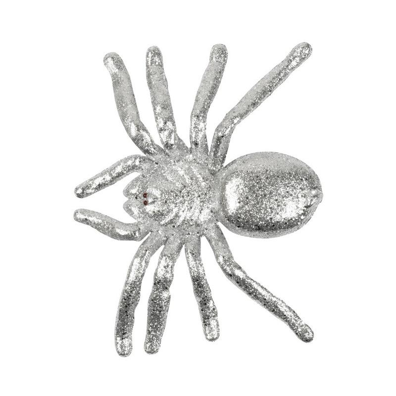 Zilveren halloween spin met glitters 20 cm