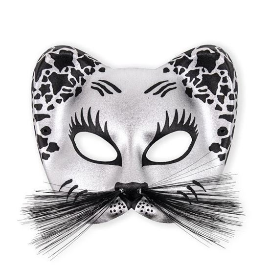 Zilveren katten oog masker plastic