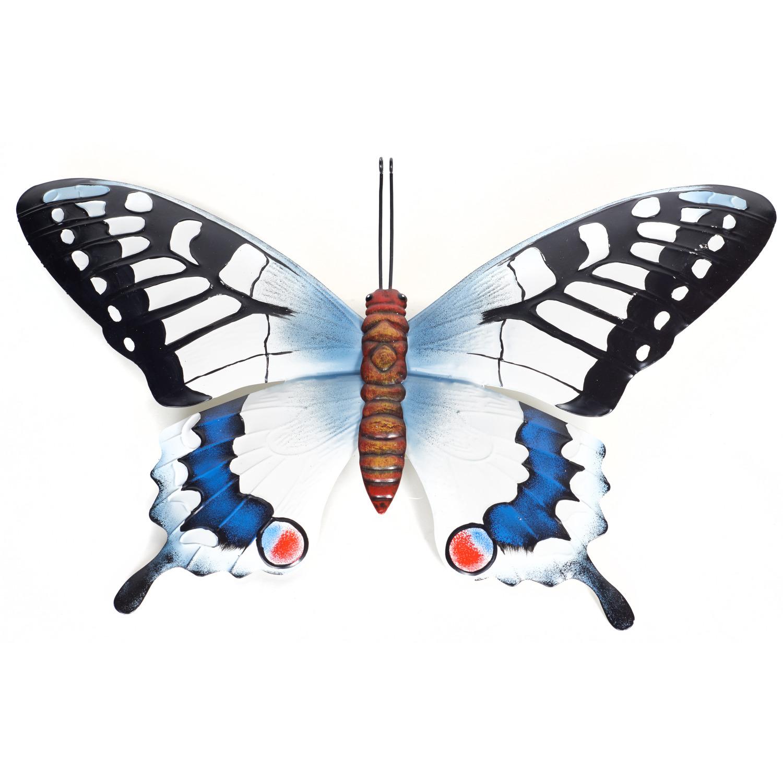 Zwart/blauwe metalen tuindecoratie vlinder 48 cm