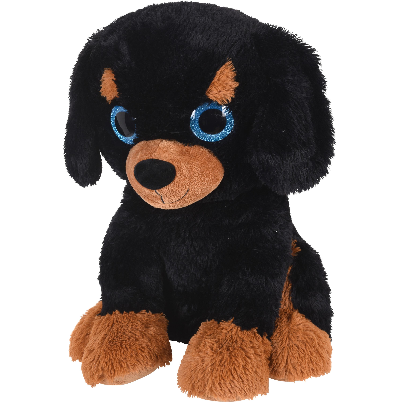 Zwart/bruine knuffeldier hond van pluche 50 cm