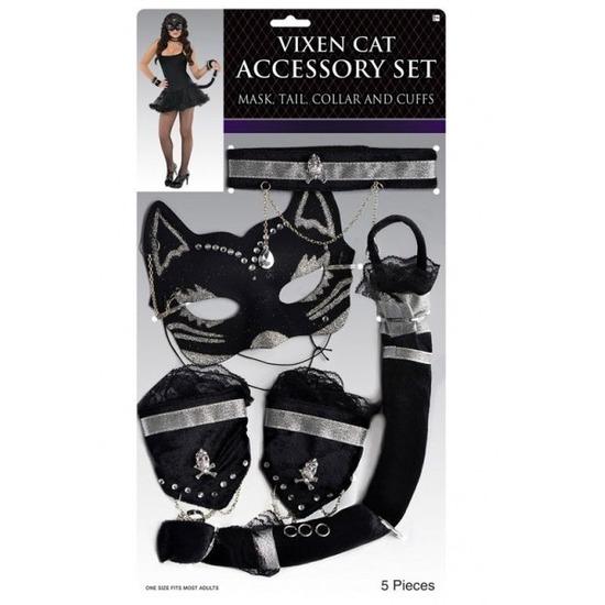Zwart met zilver stoeipoes/katten verkleedsetje