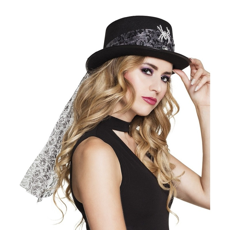 Zwart steampunk hoedje voor dames