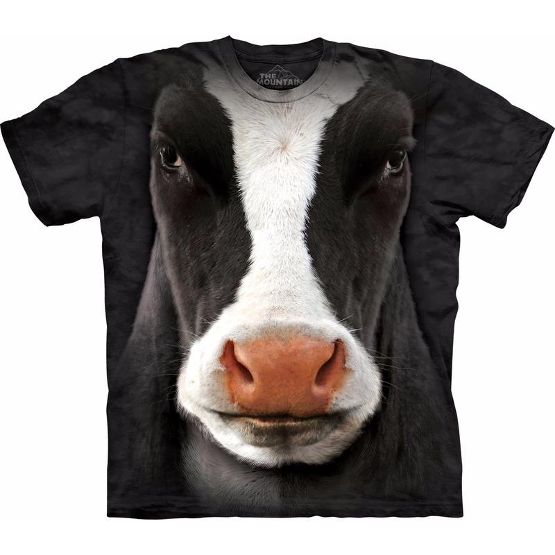 Zwart/wit realistisch koeien T-shirt