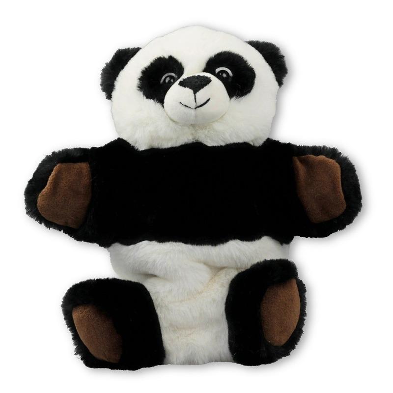 Zwart/witte pandas handpoppen knuffels 22 cm knuffeldieren