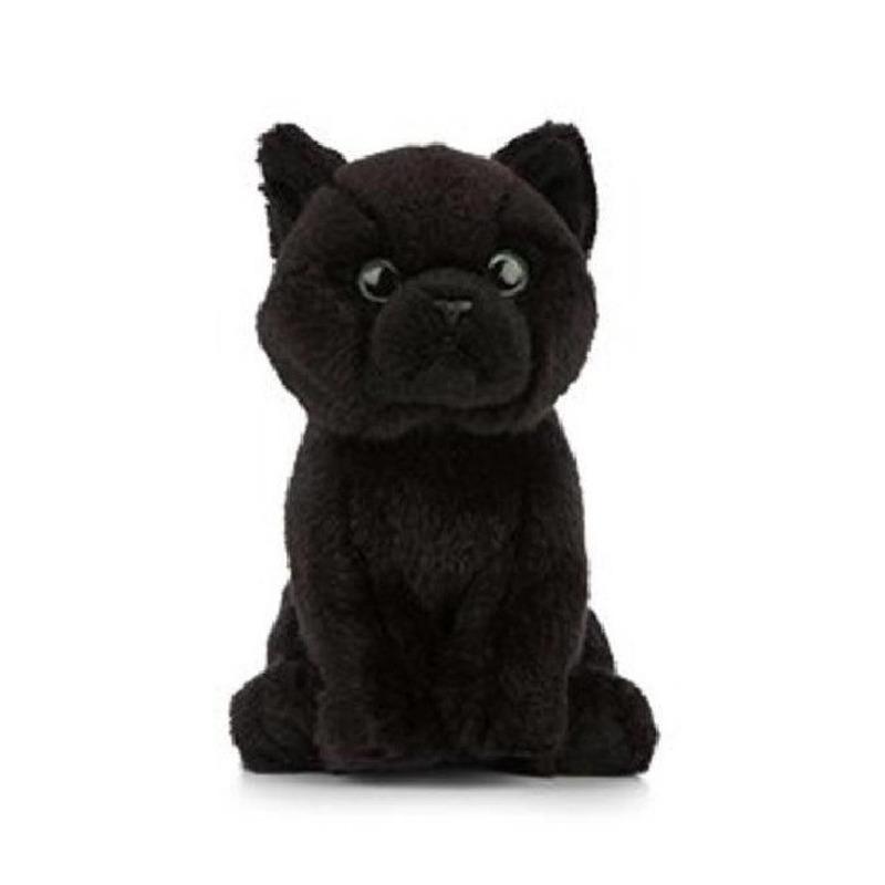 Zwarte Bombay knuffel katten/poezen 16 cm knuffeldieren