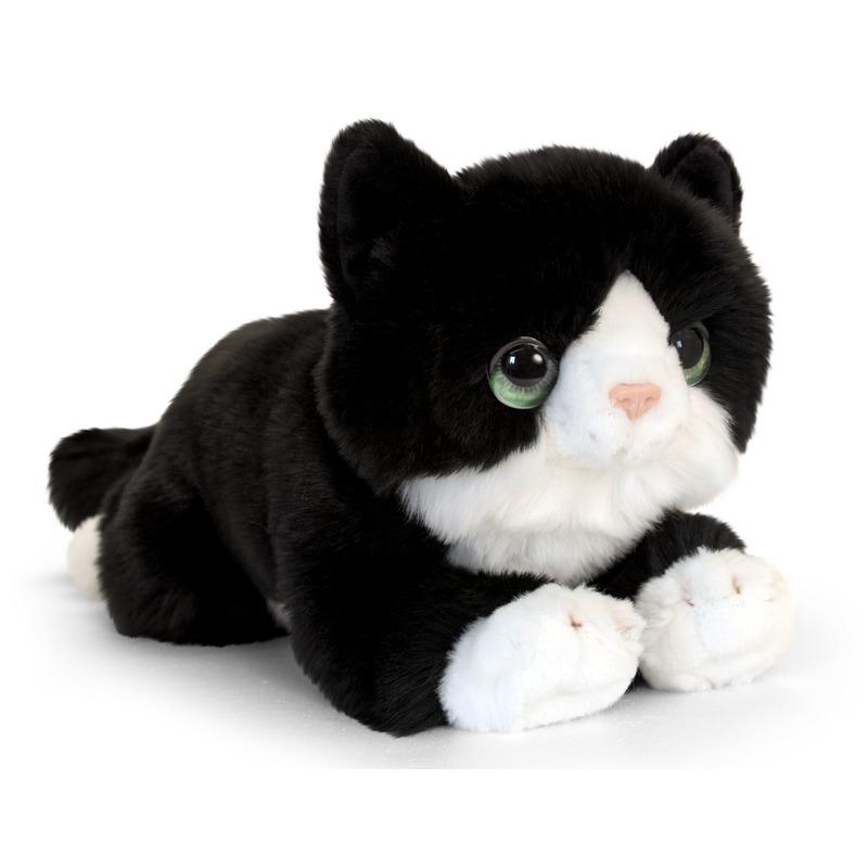 Zwarte kitten knuffelkat 32 cm