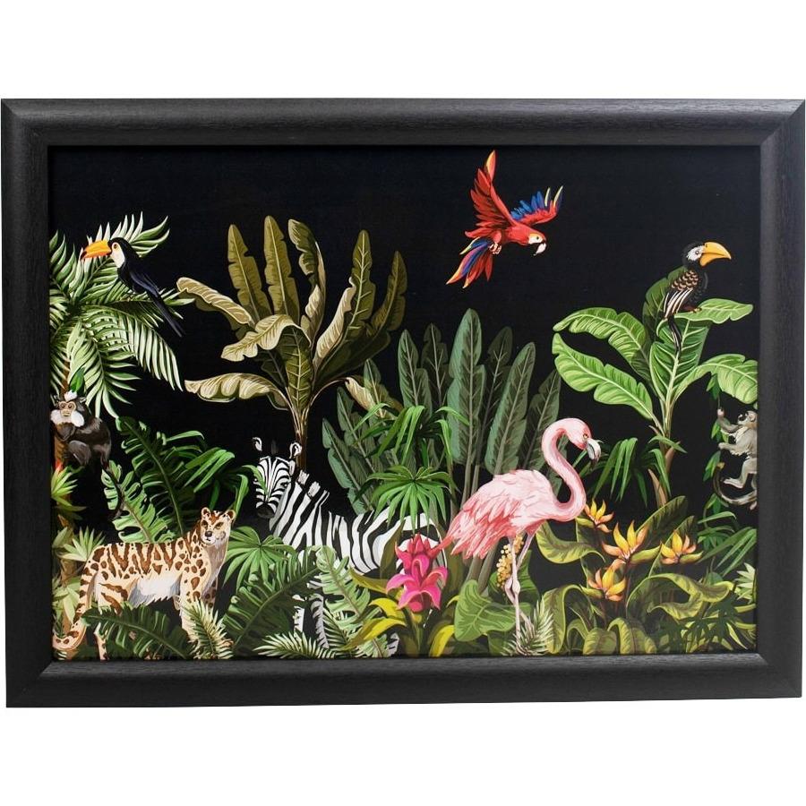 Zwarte laptray/schoottafel met botanische tropische/jungle print 43 x 33 cm