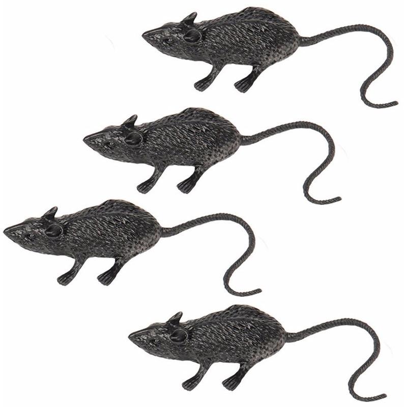Zwarte nep ratten/muizen 4 stuks 6 cm