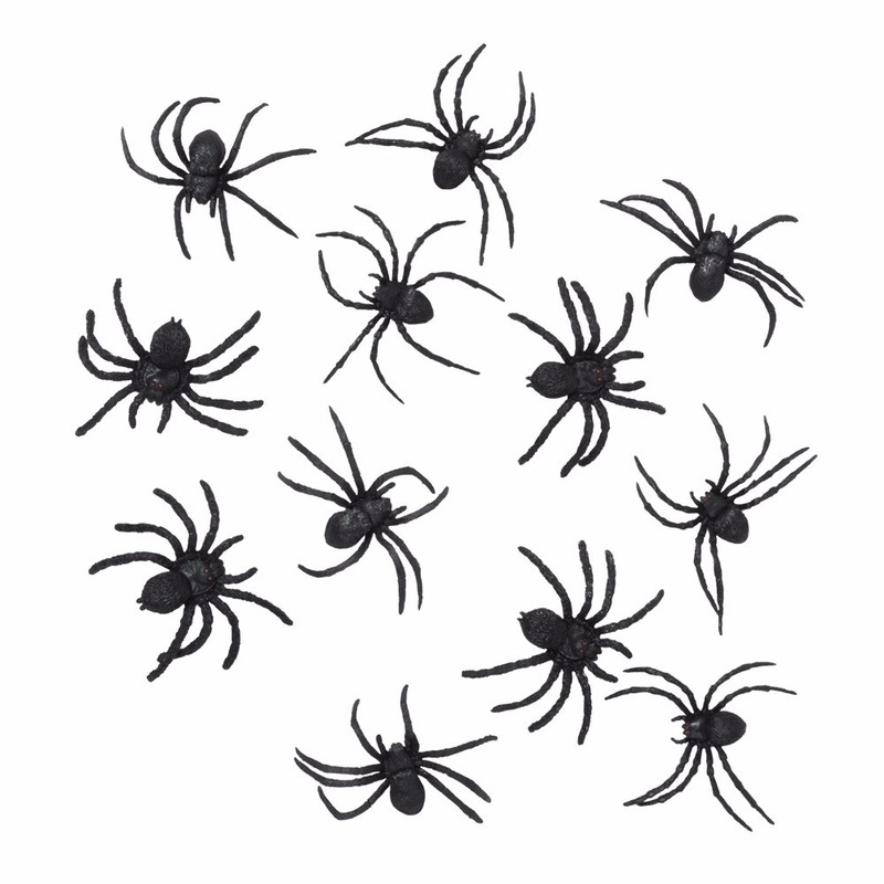 Zwarte nepspinnen 12 stuks 8 cm