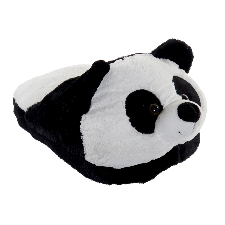Zwarte panda voetenwarmer slof voor kinderen/volwassenen
