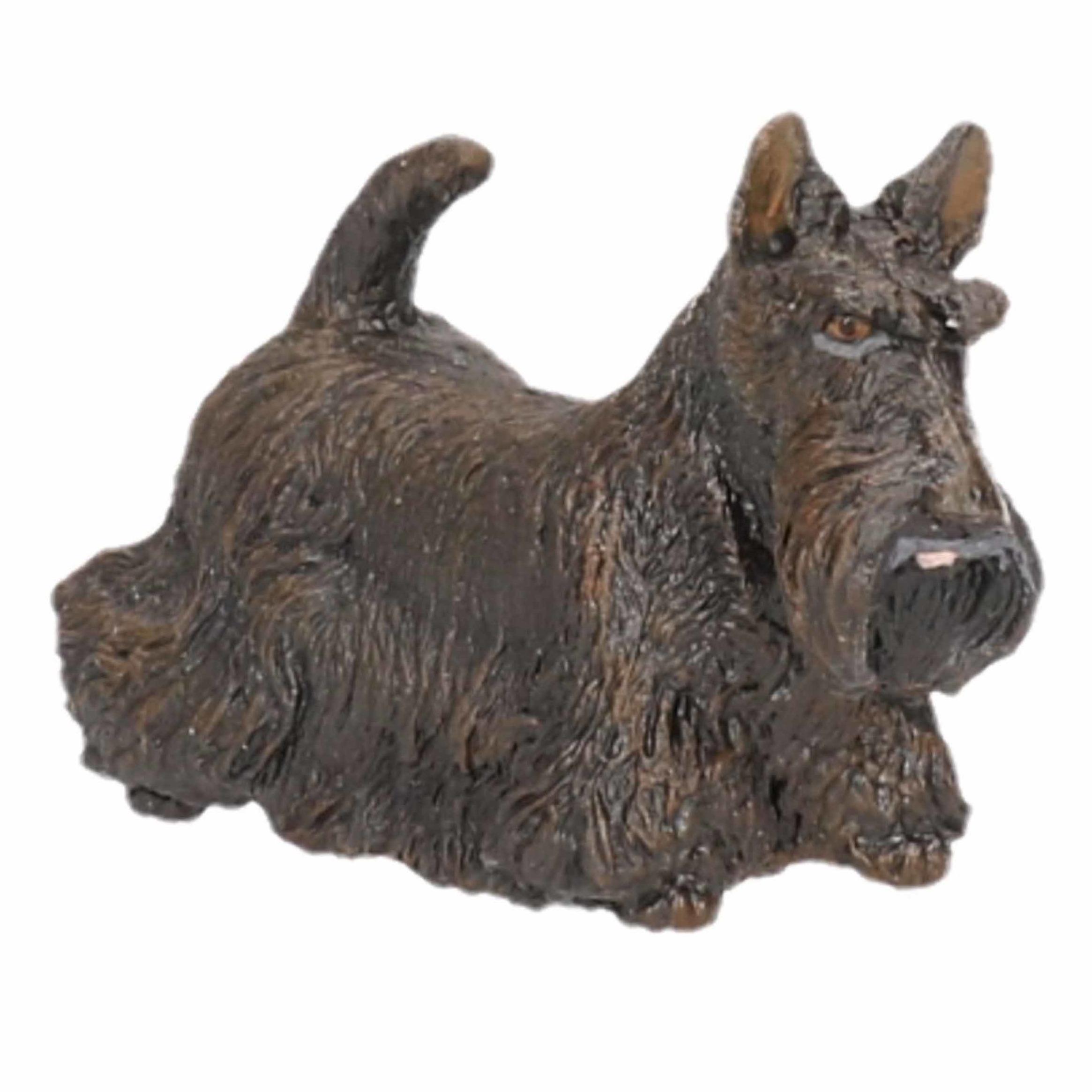 Zwarte Schotse terrier speeldiertje 6 cm