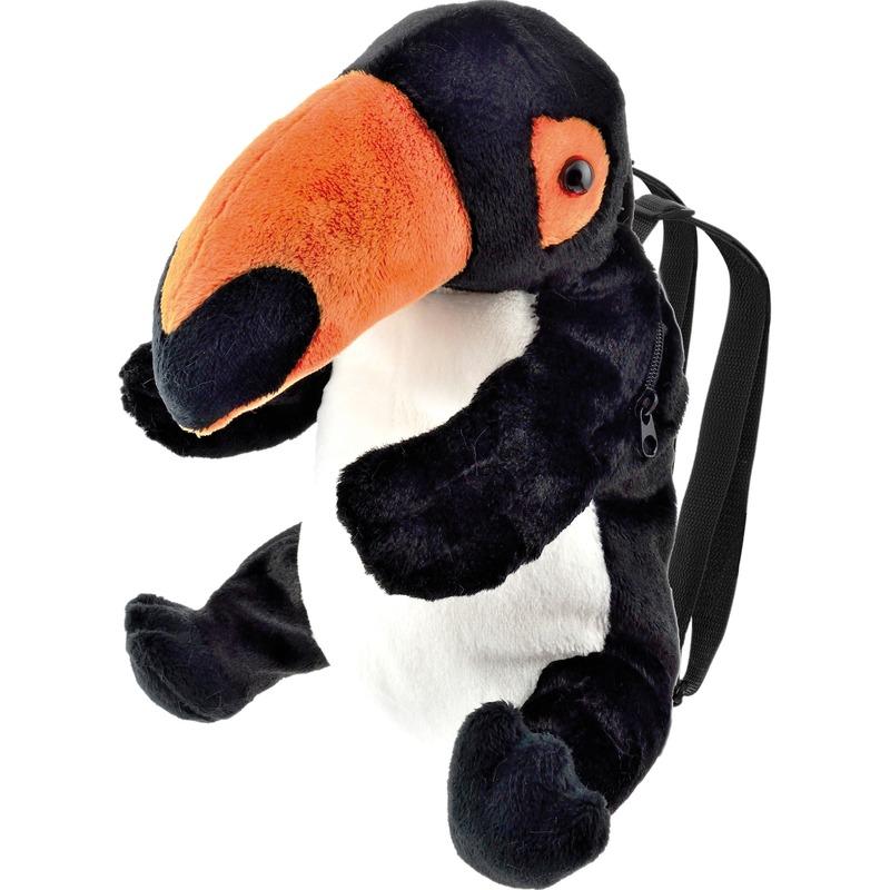 Zwarte toekan vogel rugzak/rugtas knuffels 32 cm knuffeldieren