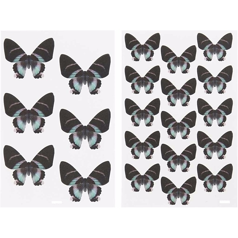 Zwarte vlinder stickertjes 4 vellen